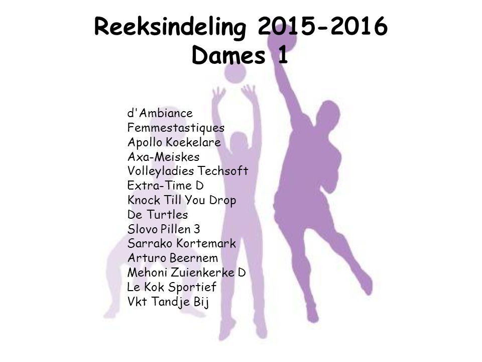 Reeksindeling 2015-2016 Dames 1 d'Ambiance Femmestastiques Apollo Koekelare Axa-Meiskes Volleyladies Techsoft Extra-Time D Knock Till You Drop De Turt