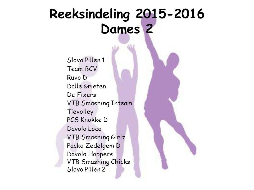 Reeksindeling 2015-2016 Dames 2 Slovo Pillen 1 Team BCV Ruvo D Dolle Grieten De Fixers VTB Smashing Inteam Tievolley PCS Knokke D Davolo Loco VTB Smas
