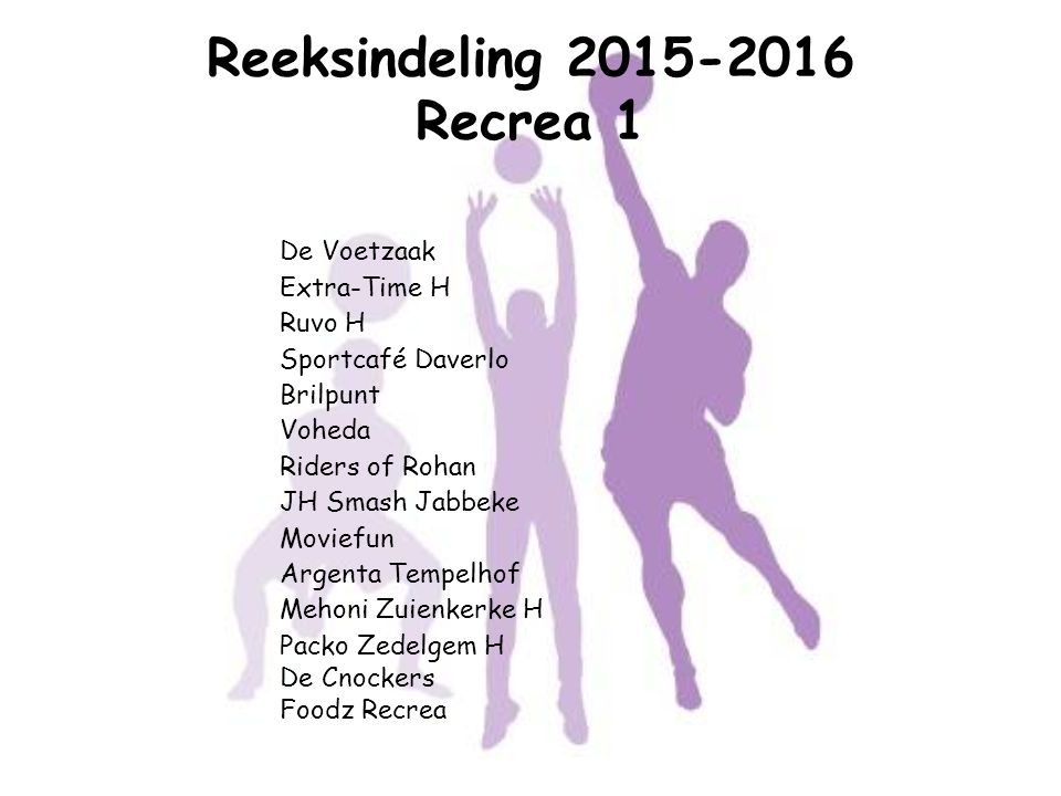 Reeksindeling 2015-2016 Recrea 1 De Voetzaak Extra-Time H Ruvo H Sportcafé Daverlo Brilpunt Voheda Riders of Rohan JH Smash Jabbeke Moviefun Argenta T