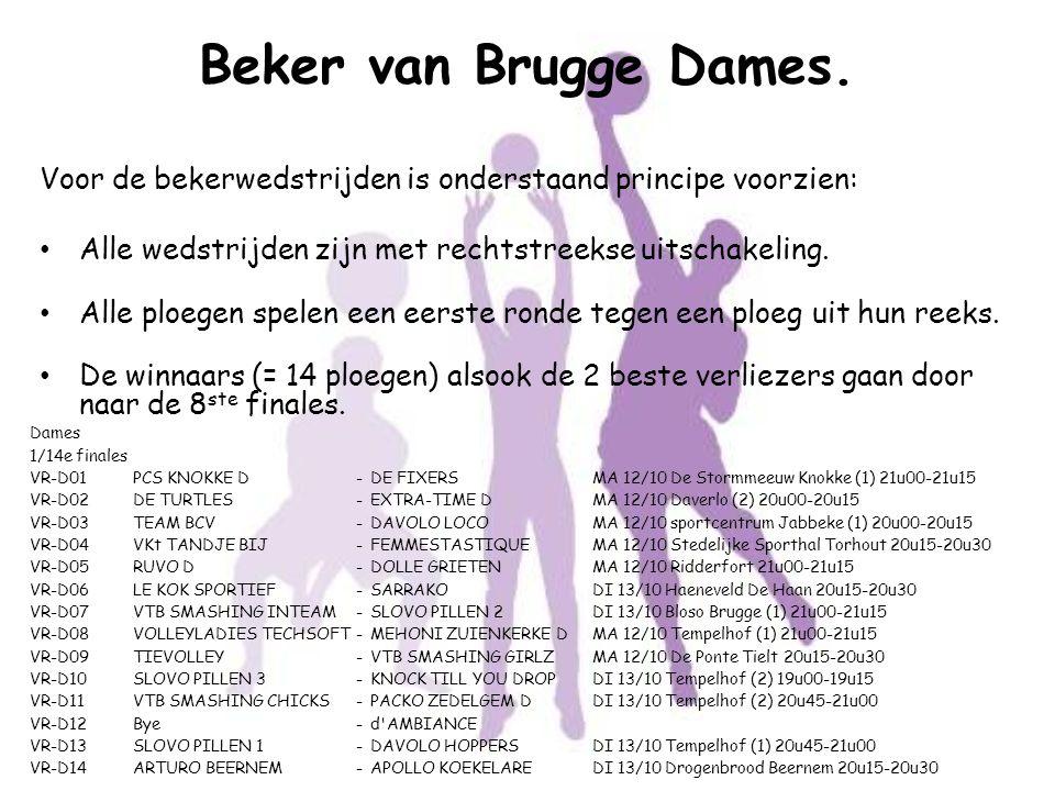 Beker van Brugge Dames. Voor de bekerwedstrijden is onderstaand principe voorzien: Alle wedstrijden zijn met rechtstreekse uitschakeling. Alle ploegen