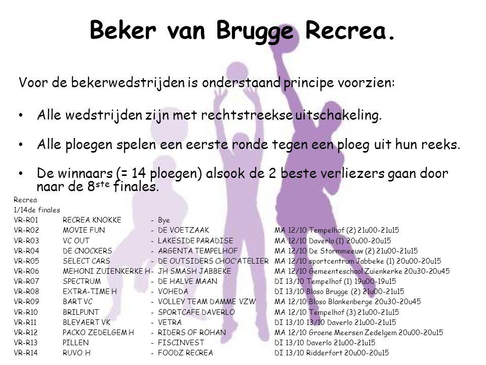 Beker van Brugge Recrea. Voor de bekerwedstrijden is onderstaand principe voorzien: Alle wedstrijden zijn met rechtstreekse uitschakeling. Alle ploege