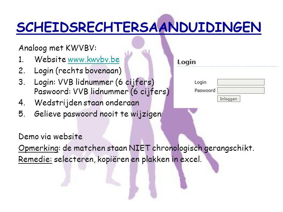 SCHEIDSRECHTERSAANDUIDINGEN Analoog met KWVBV: 1.Website www.kwvbv.bewww.kwvbv.be 2.Login (rechts bovenaan) 3.Login: VVB lidnummer (6 cijfers) Paswoor
