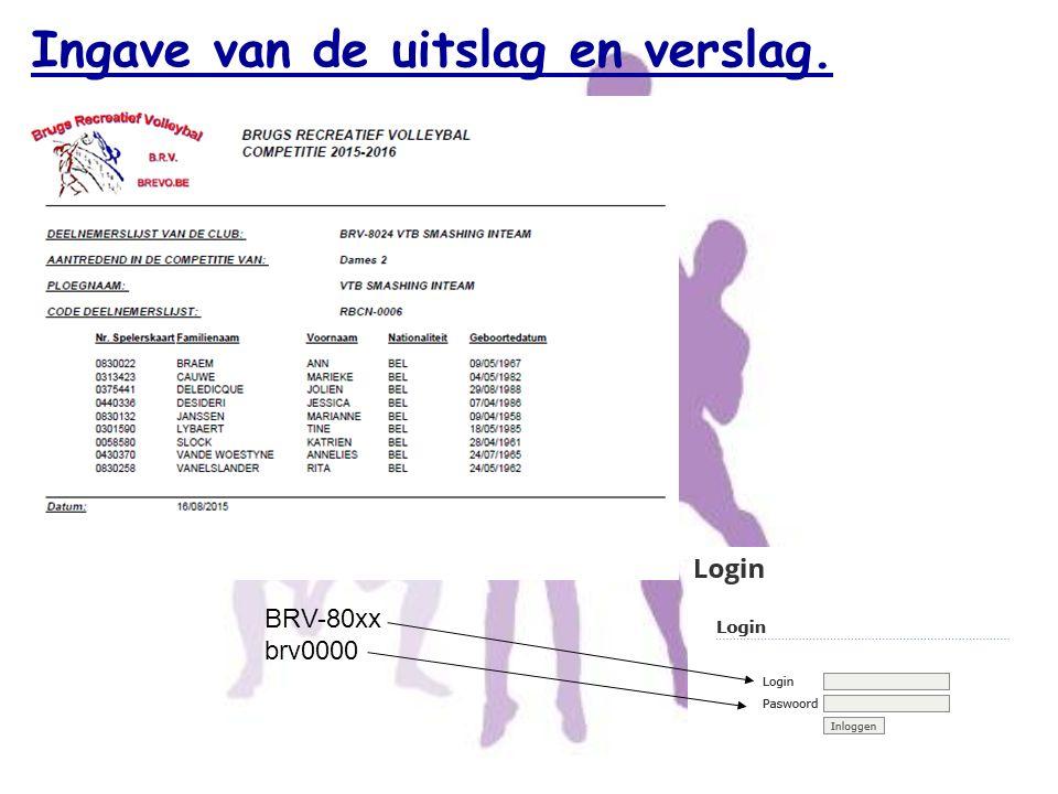 BRV-80xx brv0000 Ingave van de uitslag en verslag.
