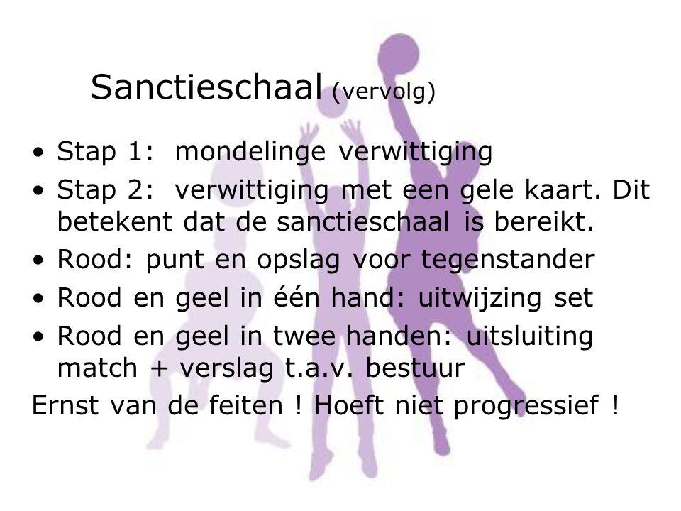 Sanctieschaal (vervolg) Stap 1: mondelinge verwittiging Stap 2: verwittiging met een gele kaart. Dit betekent dat de sanctieschaal is bereikt. Rood: p