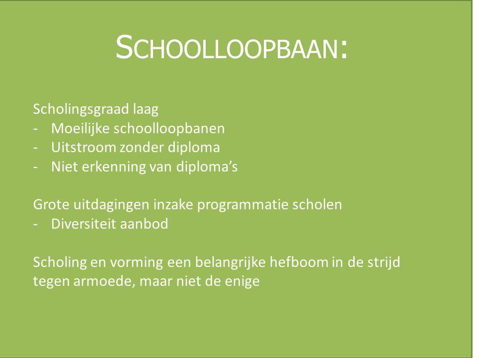 S CHOOLLOOPBAAN : Scholingsgraad laag -Moeilijke schoolloopbanen -Uitstroom zonder diploma -Niet erkenning van diploma's Grote uitdagingen inzake prog