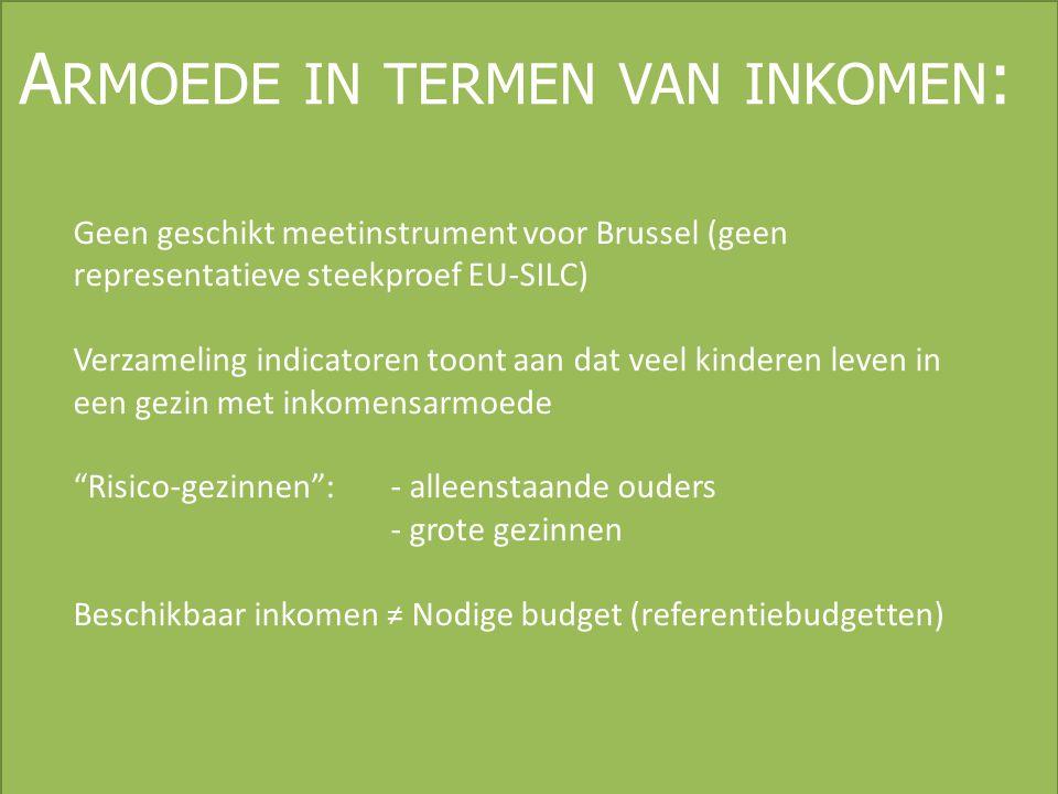 A RMOEDE IN TERMEN VAN INKOMEN : Geen geschikt meetinstrument voor Brussel (geen representatieve steekproef EU-SILC) Verzameling indicatoren toont aan