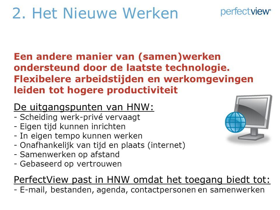 2. Het Nieuwe Werken Een andere manier van (samen)werken ondersteund door de laatste technologie.