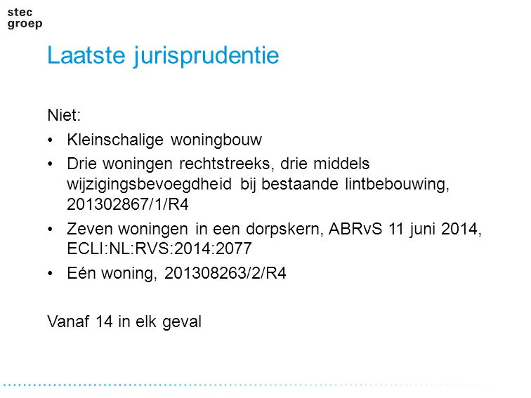 Laatste jurisprudentie Niet: Kleinschalige woningbouw Drie woningen rechtstreeks, drie middels wijzigingsbevoegdheid bij bestaande lintbebouwing, 2013