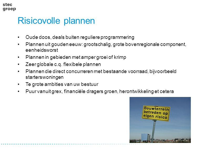 Risicovolle plannen Oude doos, deals buiten reguliere programmering Plannen uit gouden eeuw: grootschalig, grote bovenregionale component, eenheidswor
