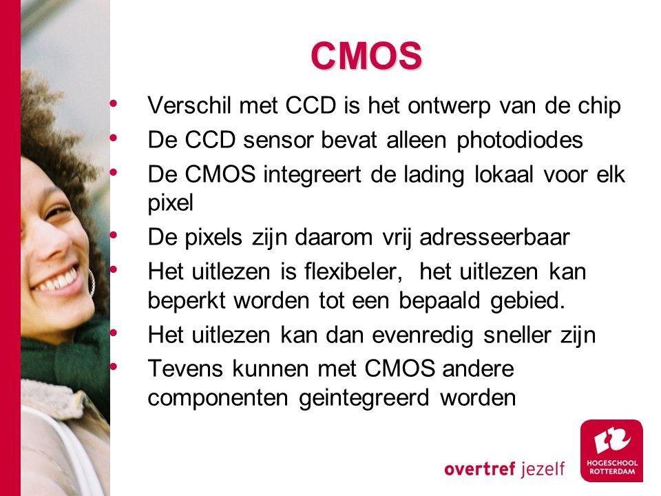 # CMOS Verschil met CCD is het ontwerp van de chip De CCD sensor bevat alleen photodiodes De CMOS integreert de lading lokaal voor elk pixel De pixels zijn daarom vrij adresseerbaar Het uitlezen is flexibeler, het uitlezen kan beperkt worden tot een bepaald gebied.
