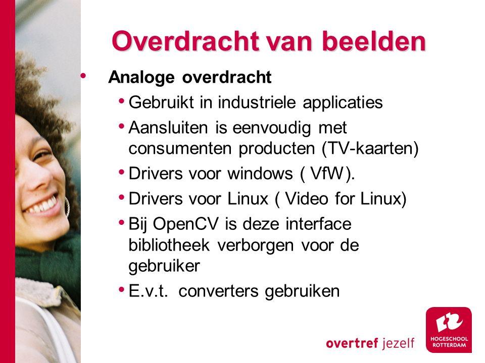 # Overdracht van beelden Analoge overdracht Gebruikt in industriele applicaties Aansluiten is eenvoudig met consumenten producten (TV-kaarten) Drivers voor windows ( VfW).