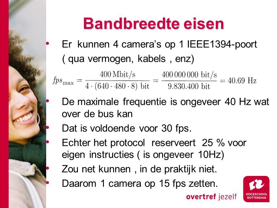# Bandbreedte eisen Er kunnen 4 camera's op 1 IEEE1394-poort ( qua vermogen, kabels, enz) De maximale frequentie is ongeveer 40 Hz wat over de bus kan Dat is voldoende voor 30 fps.