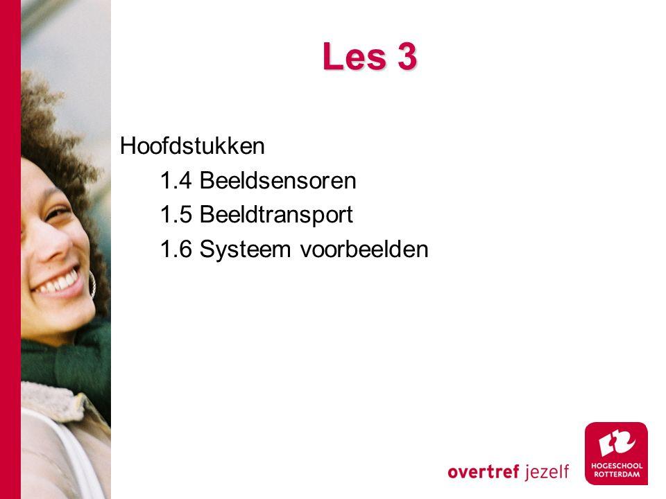 # Les 3 Hoofdstukken 1.4 Beeldsensoren 1.5 Beeldtransport 1.6 Systeem voorbeelden