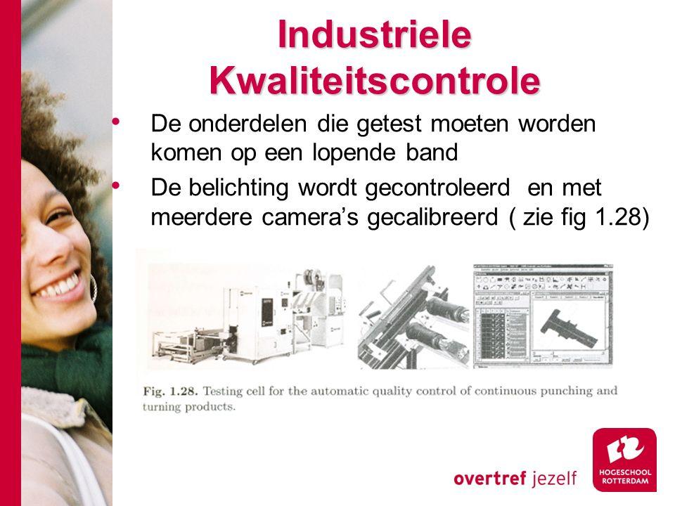 # Industriele Kwaliteitscontrole De onderdelen die getest moeten worden komen op een lopende band De belichting wordt gecontroleerd en met meerdere camera's gecalibreerd ( zie fig 1.28)