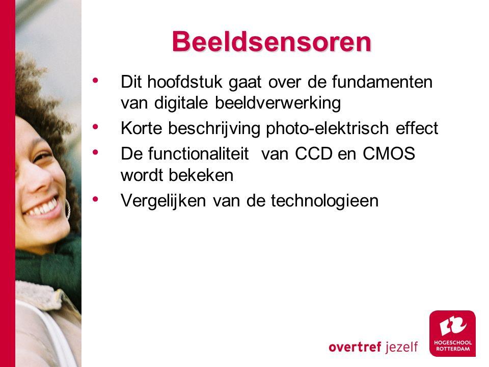 # Beeldsensoren Dit hoofdstuk gaat over de fundamenten van digitale beeldverwerking Korte beschrijving photo-elektrisch effect De functionaliteit van CCD en CMOS wordt bekeken Vergelijken van de technologieen