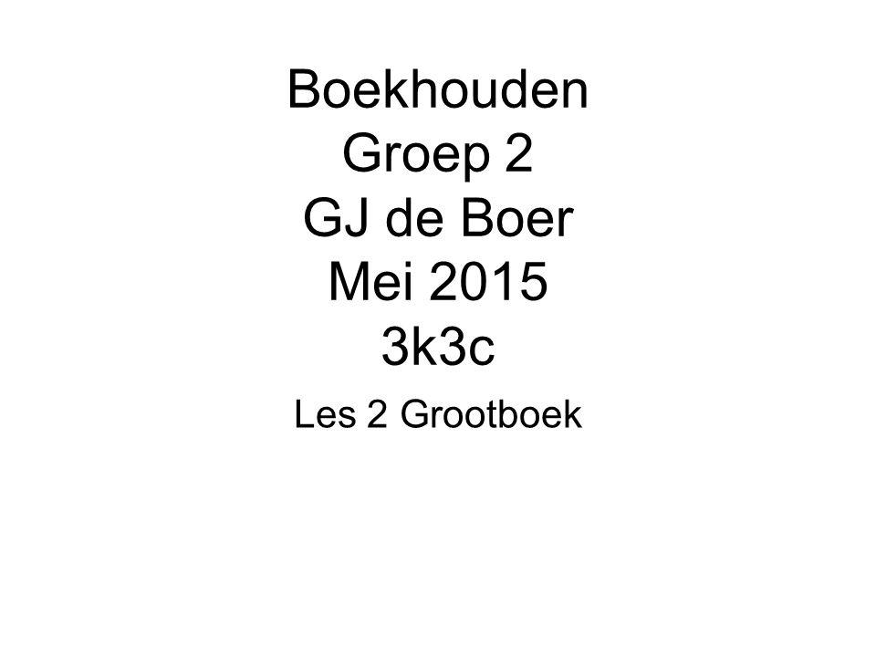 Boekhouden Groep 2 GJ de Boer Mei 2015 3k3c Les 2 Grootboek