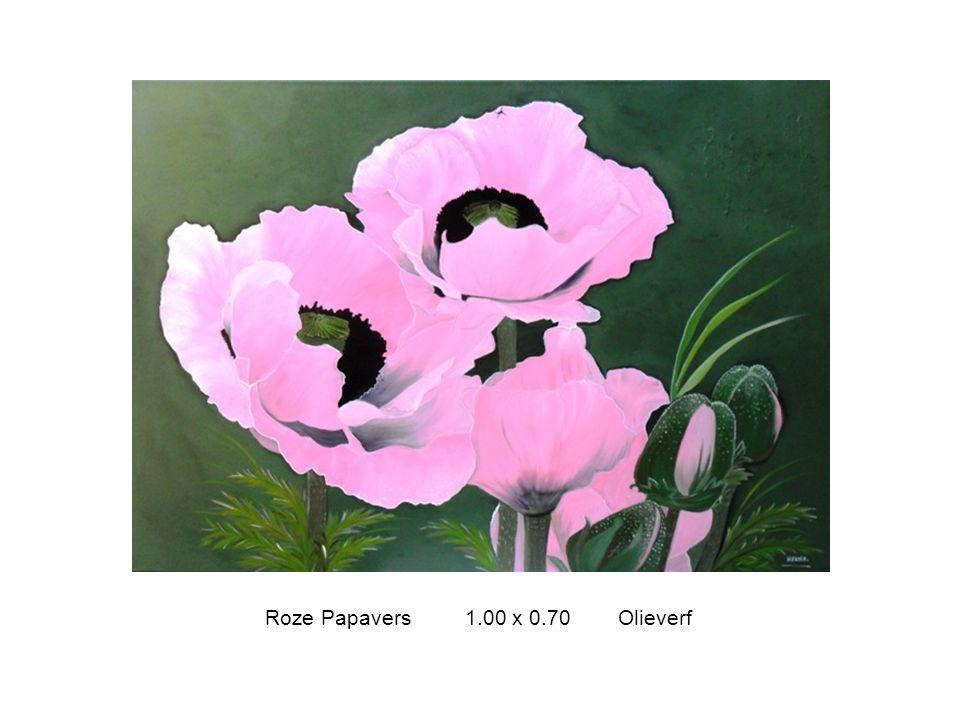 Roze Papavers 1.00 x 0.70 Olieverf