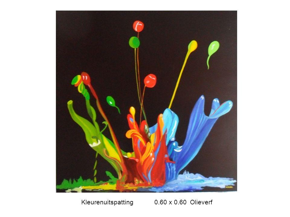 Kleurenuitspatting 0.60 x 0.60 Olieverf