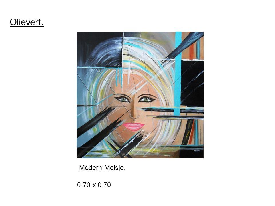 Olieverf. 0.70 x 0.70 Modern Meisje.