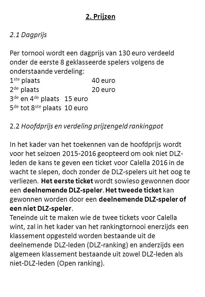 2. Prijzen 2.1 Dagprijs Per tornooi wordt een dagprijs van 130 euro verdeeld onder de eerste 8 geklasseerde spelers volgens de onderstaande verdeling: