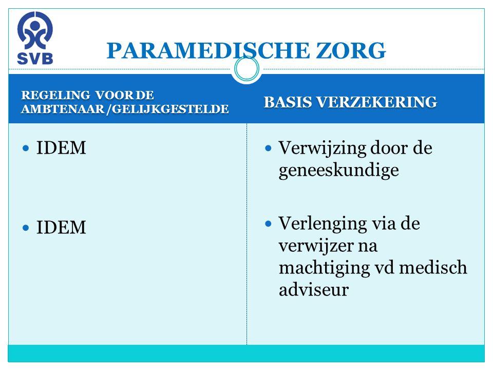 REGELING VOOR DE AMBTENAAR /GELIJKGESTELDE BASIS VERZEKERING IDEM Verwijzing door de geneeskundige Verlenging via de verwijzer na machtiging vd medisc