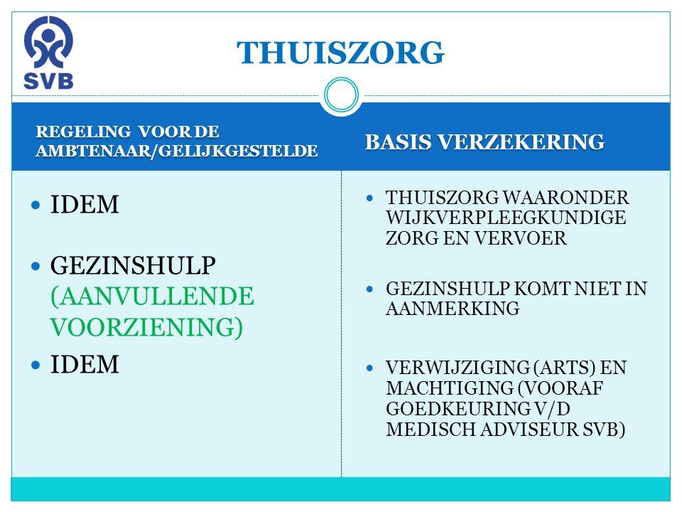 REGELING VOOR DE AMBTENAAR/GELIJKGESTELDE BASIS VERZEKERING IDEM GEZINSHULP (AANVULLENDE VOORZIENING) IDEM THUISZORG WAARONDER WIJKVERPLEEGKUNDIGE ZOR