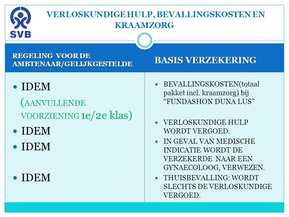 REGELING VOOR DE AMBTENAAR/GELIJKGESTELDE BASIS VERZEKERING IDEM ( AANVULLENDE VOORZIENING 1e/2e klas) IDEM BEVALLINGSKOSTEN(totaal pakket incl. kraam