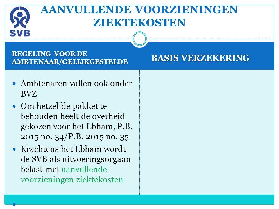 REGELING VOOR DE AMBTENAAR/GELIJKGESTELDE BASIS VERZEKERING Ambtenaren vallen ook onder BVZ Om hetzelfde pakket te behouden heeft de overheid gekozen