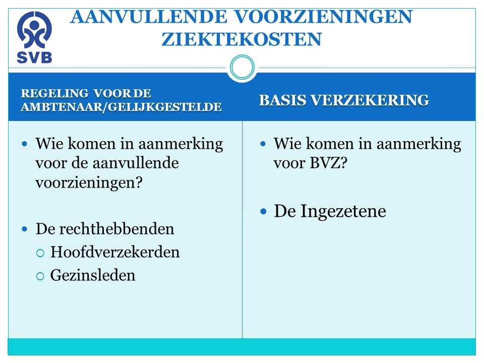 REGELING VOOR DE AMBTENAAR/GELIJKGESTELDE BASIS VERZEKERING Wie komen in aanmerking voor de aanvullende voorzieningen? De rechthebbenden  Hoofdverzek