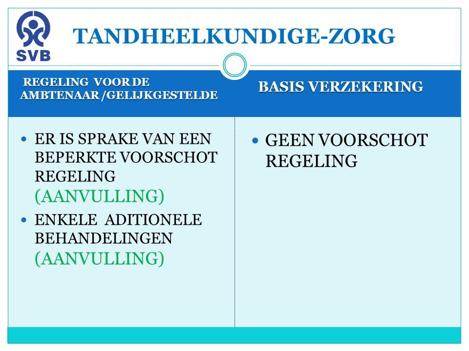 REGELING VOOR DE AMBTENAAR /GELIJKGESTELDE BASIS VERZEKERING ER IS SPRAKE VAN EEN BEPERKTE VOORSCHOT REGELING (AANVULLING) ENKELE ADITIONELE BEHANDELI