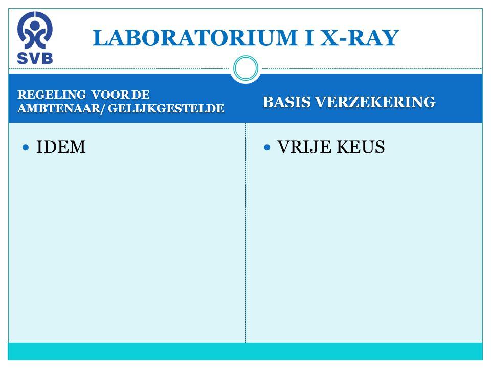 REGELING VOOR DE AMBTENAAR/ GELIJKGESTELDE BASIS VERZEKERING IDEM VRIJE KEUS LABORATORIUM I X-RAY