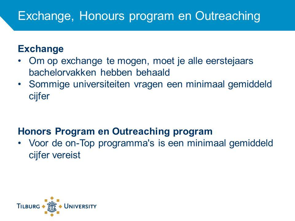 Exchange, Honours program en Outreaching Exchange Om op exchange te mogen, moet je alle eerstejaars bachelorvakken hebben behaald Sommige universiteit
