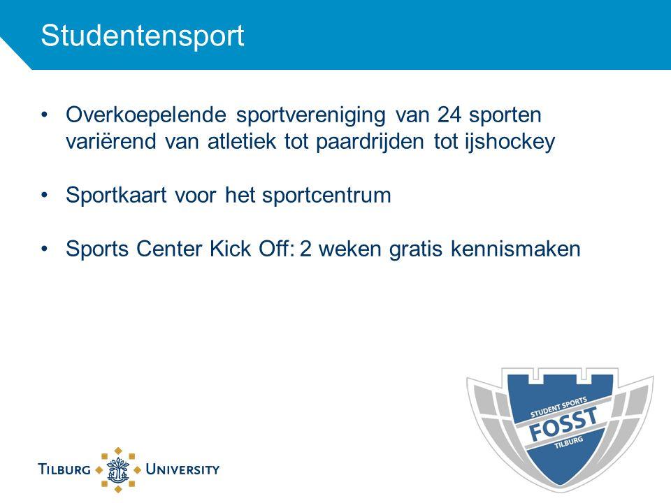 Studentensport Overkoepelende sportvereniging van 24 sporten variërend van atletiek tot paardrijden tot ijshockey Sportkaart voor het sportcentrum Spo