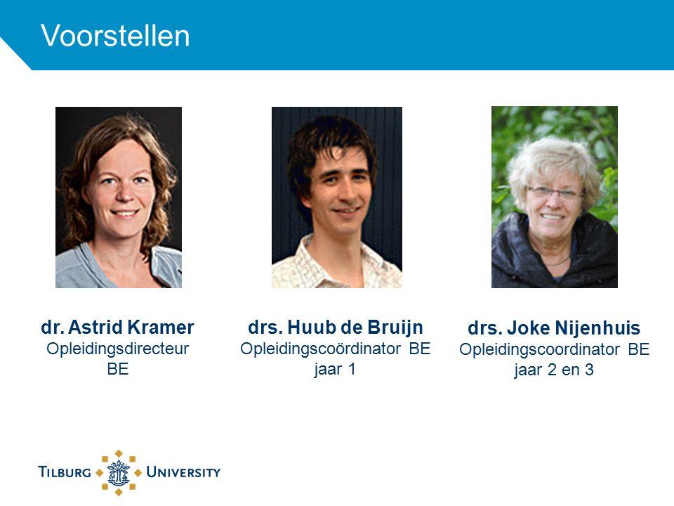 dr. Astrid Kramer Opleidingsdirecteur BE Voorstellen drs. Joke Nijenhuis Opleidingscoordinator BE jaar 2 en 3 drs. Huub de Bruijn Opleidingscoördinato