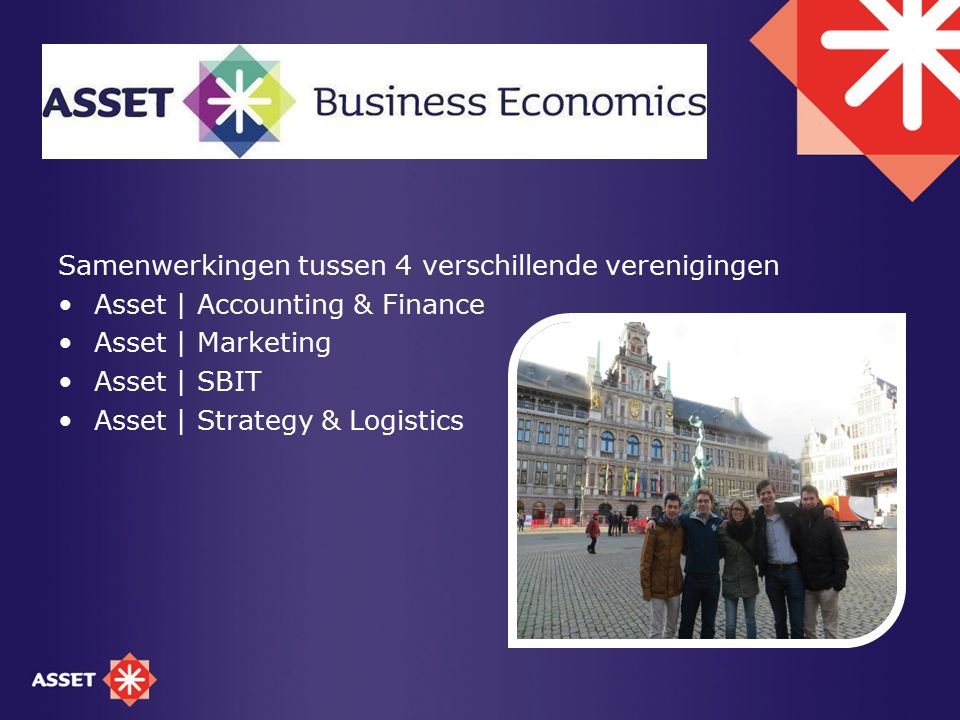 Samenwerkingen tussen 4 verschillende verenigingen Asset | Accounting & Finance Asset | Marketing Asset | SBIT Asset | Strategy & Logistics