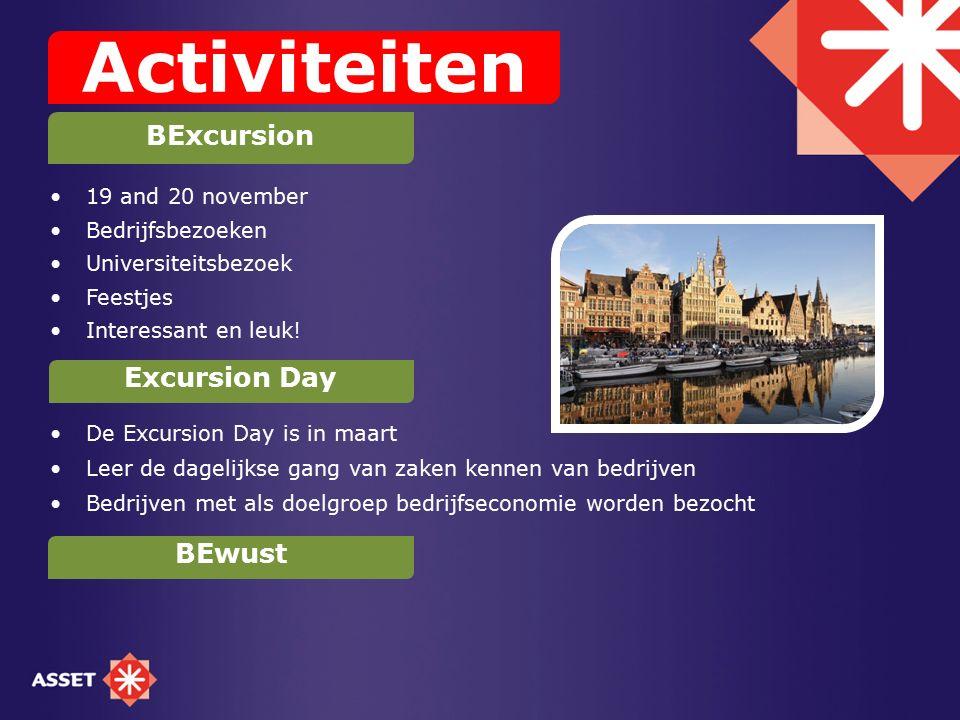 19 and 20 november Bedrijfsbezoeken Universiteitsbezoek Feestjes Interessant en leuk! De Excursion Day is in maart Leer de dagelijkse gang van zaken k