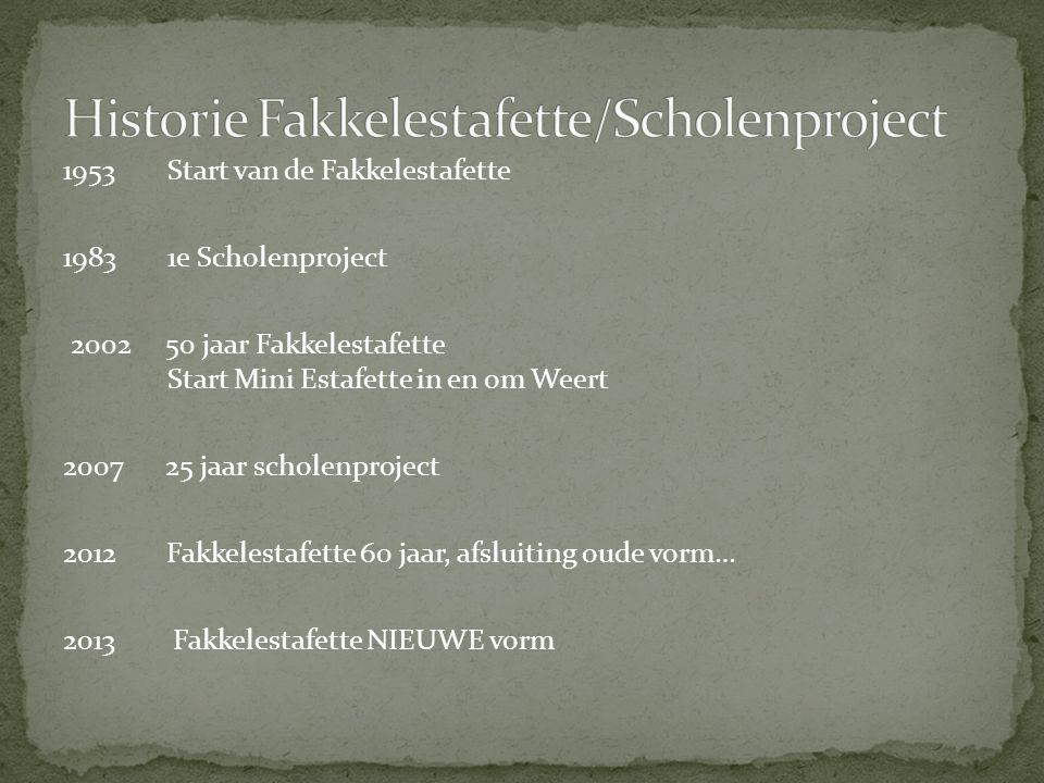 1953 Start van de Fakkelestafette 19831e Scholenproject 2002 50 jaar Fakkelestafette Start Mini Estafette in en om Weert 2007 25 jaar scholenproject 2