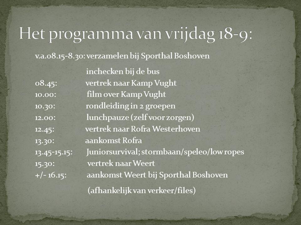 v.a.08.15-8.30: verzamelen bij Sporthal Boshoven inchecken bij de bus 08.45: vertrek naar Kamp Vught 10.00: film over Kamp Vught 10.30: rondleiding in