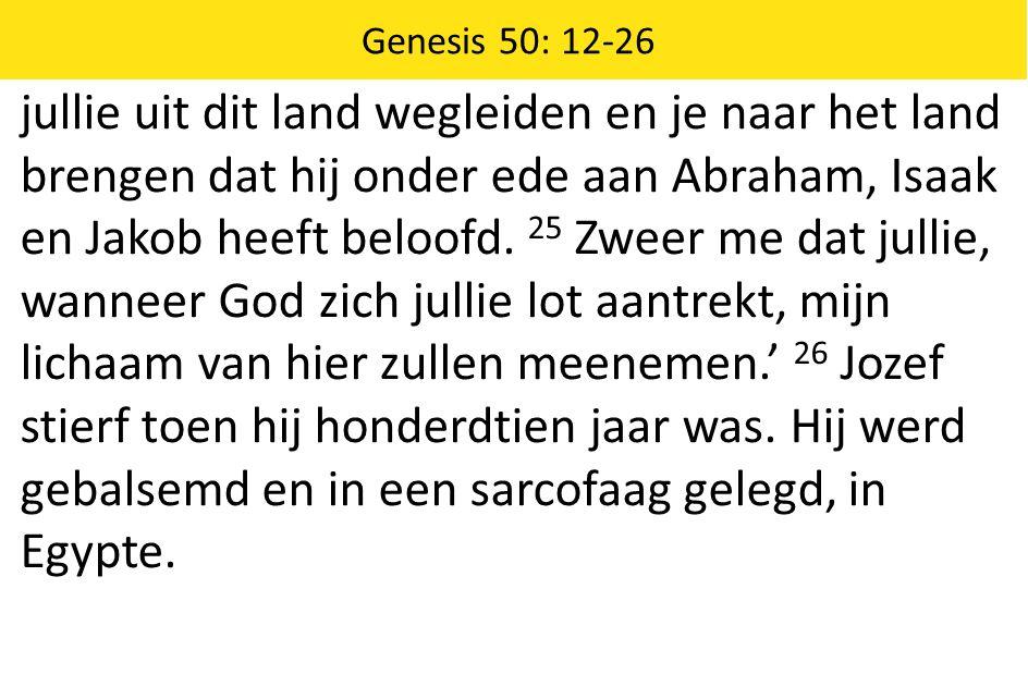 jullie uit dit land wegleiden en je naar het land brengen dat hij onder ede aan Abraham, Isaak en Jakob heeft beloofd.