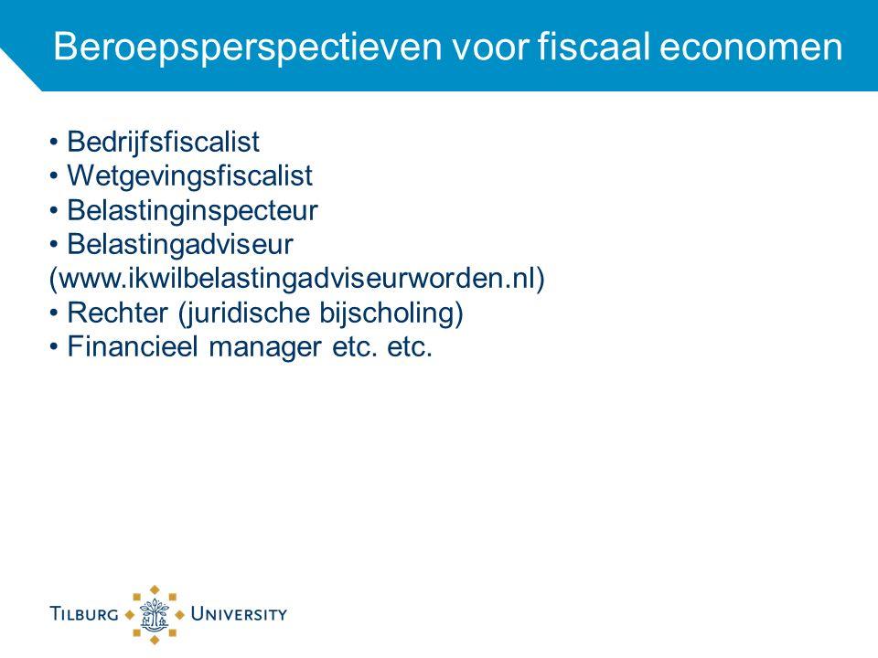 Beroepsperspectieven voor fiscaal economen Bedrijfsfiscalist Wetgevingsfiscalist Belastinginspecteur Belastingadviseur (www.ikwilbelastingadviseurword