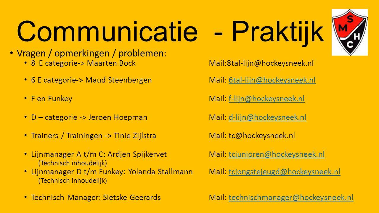 Communicatie - Praktijk Vragen / opmerkingen / problemen: 8 E categorie-> Maarten BockMail:8tal-lijn@hockeysneek.nl 6 E categorie-> Maud SteenbergenMa