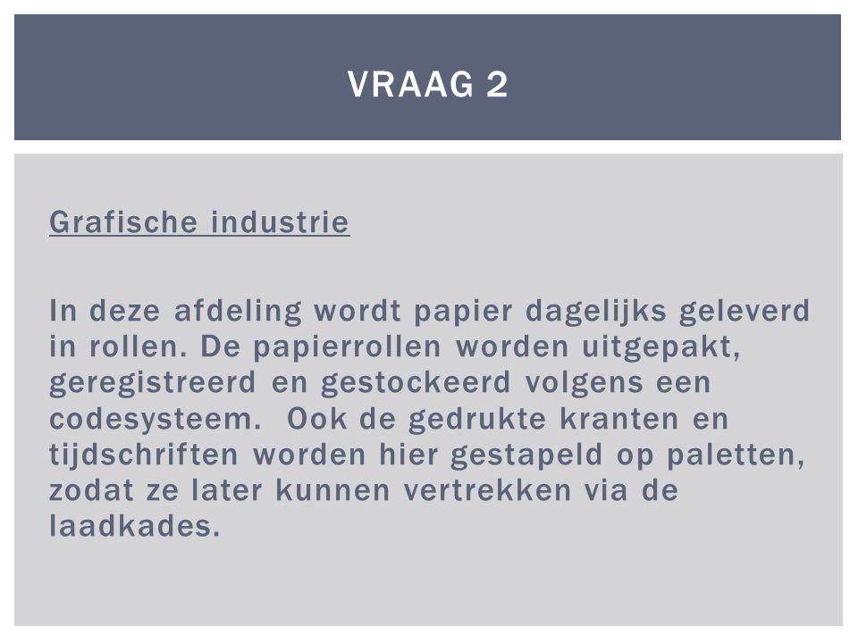 Grafische industrie In deze afdeling wordt papier dagelijks geleverd in rollen. De papierrollen worden uitgepakt, geregistreerd en gestockeerd volgens