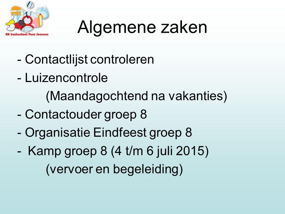 Algemene zaken - Contactlijst controleren - Luizencontrole (Maandagochtend na vakanties) - Contactouder groep 8 - Organisatie Eindfeest groep 8 -Kamp groep 8 (4 t/m 6 juli 2015) (vervoer en begeleiding)