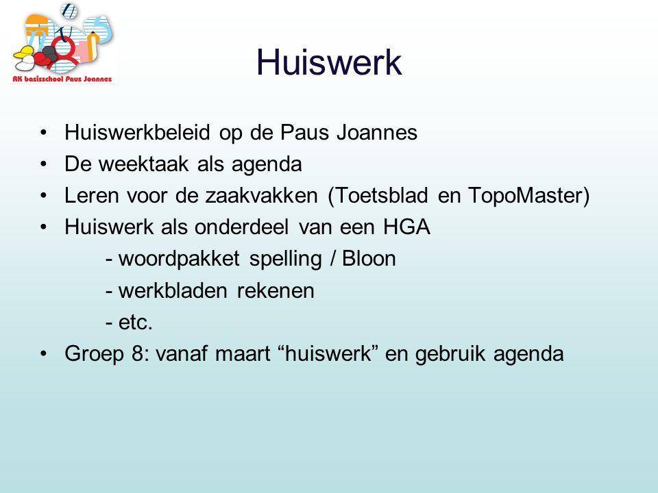 Huiswerk Huiswerkbeleid op de Paus Joannes De weektaak als agenda Leren voor de zaakvakken (Toetsblad en TopoMaster) Huiswerk als onderdeel van een HGA - woordpakket spelling / Bloon - werkbladen rekenen - etc.