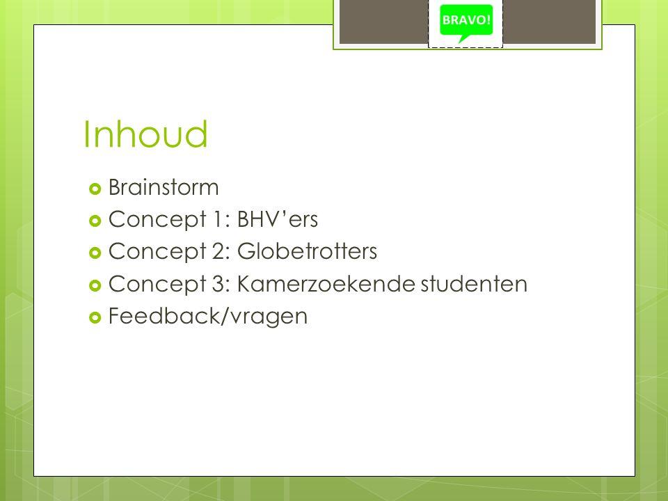 Inhoud  Brainstorm  Concept 1: BHV'ers  Concept 2: Globetrotters  Concept 3: Kamerzoekende studenten  Feedback/vragen