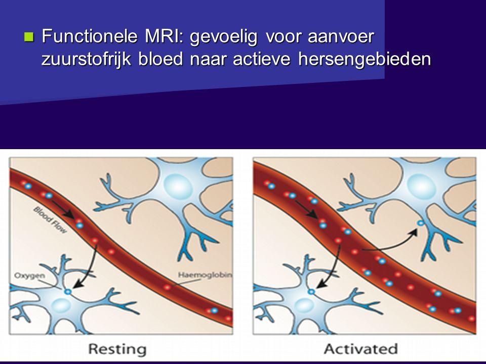 Bouman GGZ - gokbehandeling Functionele MRI: gevoelig voor aanvoer zuurstofrijk bloed naar actieve hersengebieden Functionele MRI: gevoelig voor aanvoer zuurstofrijk bloed naar actieve hersengebieden