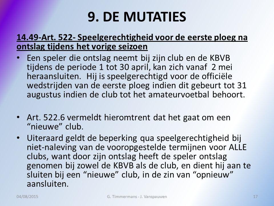 9. DE MUTATIES 14.49-Art. 522- Speelgerechtigheid voor de eerste ploeg na ontslag tijdens het vorige seizoen Een speler die ontslag neemt bij zijn clu