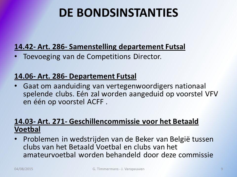 14.42- Art. 286- Samenstelling departement Futsal Toevoeging van de Competitions Director. 14.06- Art. 286- Departement Futsal Gaat om aanduiding van