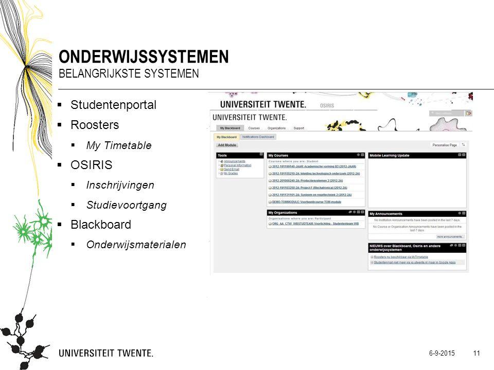  Studentenportal  Roosters  My Timetable  OSIRIS  Inschrijvingen  Studievoortgang  Blackboard  Onderwijsmaterialen ONDERWIJSSYSTEMEN BELANGRIJ