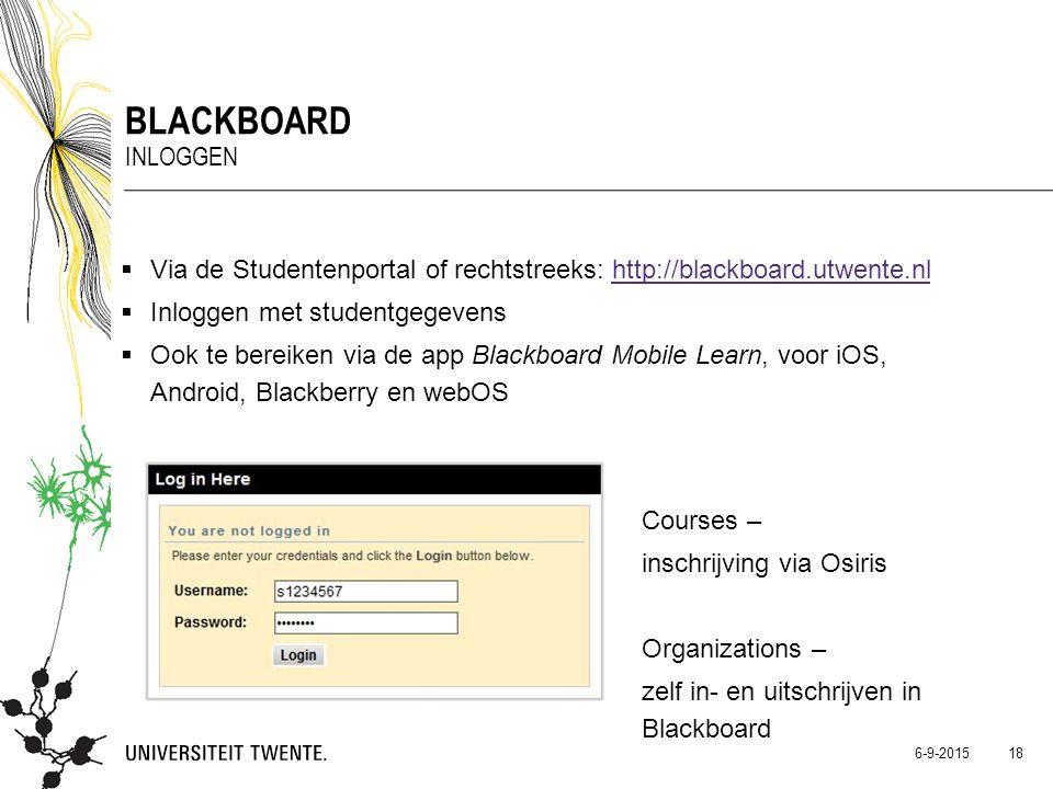  Via de Studentenportal of rechtstreeks: http://blackboard.utwente.nlhttp://blackboard.utwente.nl  Inloggen met studentgegevens  Ook te bereiken vi